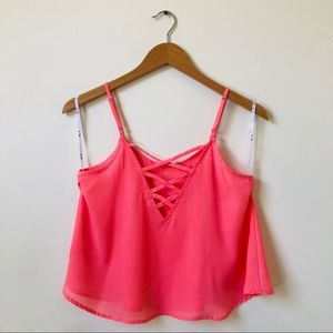 MINE CROP TANK TOP WITH  CRISSCROSS BACK CORAL